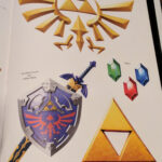 sword shield, triforce, rupees